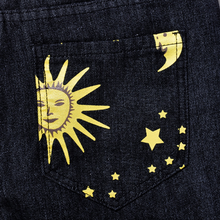 Load image into Gallery viewer, Moon and Stars Printed Black Denim Jeans Pants