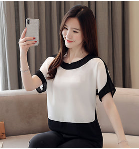 Solid O-Neck Chiffon Shirt