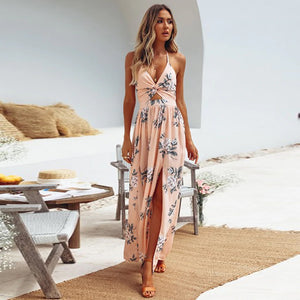 V-Neck Long Dress Chiffon Print Suspender