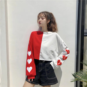 Heart Pattern Side Printed O-Neck Long Sleeve Shirt