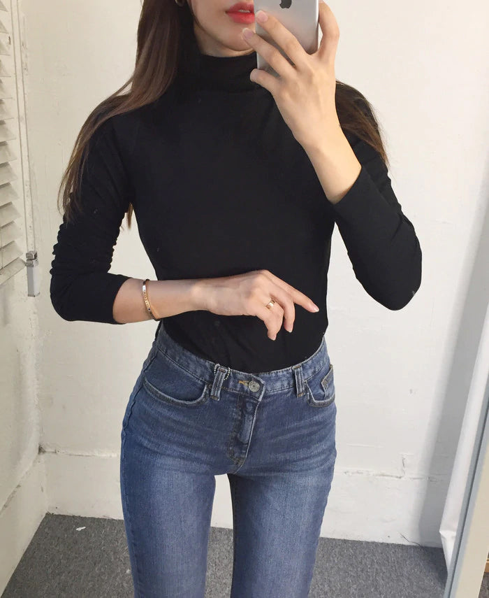 Turtleneck Elastic Cotton Slim Shirt