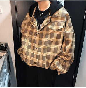 Plaid Hooded Coat Jacket