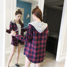 Load image into Gallery viewer, Plaid Hooded Long Sleeve Shirt Blouse