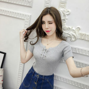 Front Lace Up Slim Knitted Shirt