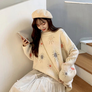 Sun Drawing Pattern Knitted Oversized Sweater