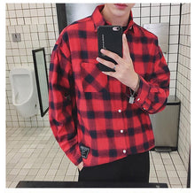 Load image into Gallery viewer, Long Sleeve Plaid Flannel Shirt