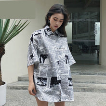 Load image into Gallery viewer, Newspaper Printed Casual Loose Blouse Shirt