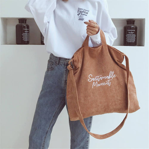 Sustainable Moment Letter Corduroy Tote Bag