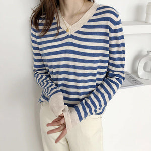V-Neck Loose Thin Striped Casual Sweater