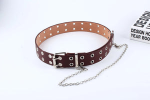 Double and Single Eyelet Grommet Leather Belt