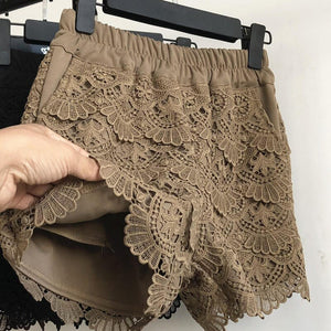 Elastic Waist Wide Leg Lace Shorts