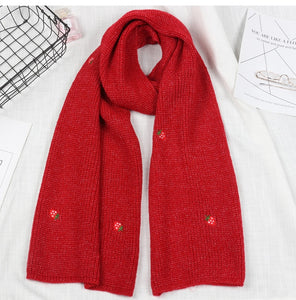 Little Strawberry Embroidered Winter Scarf