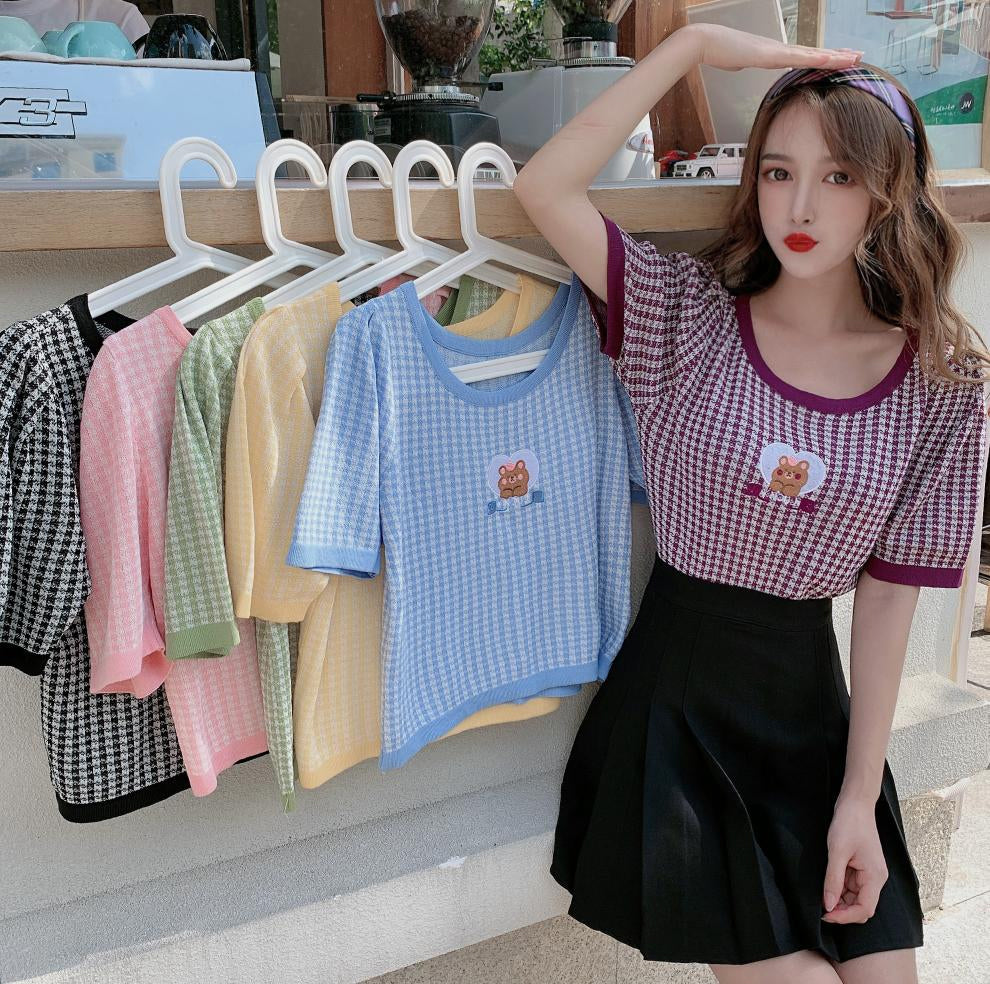 Bear Embroidery Plaid Style Stretchy Slim Shirt