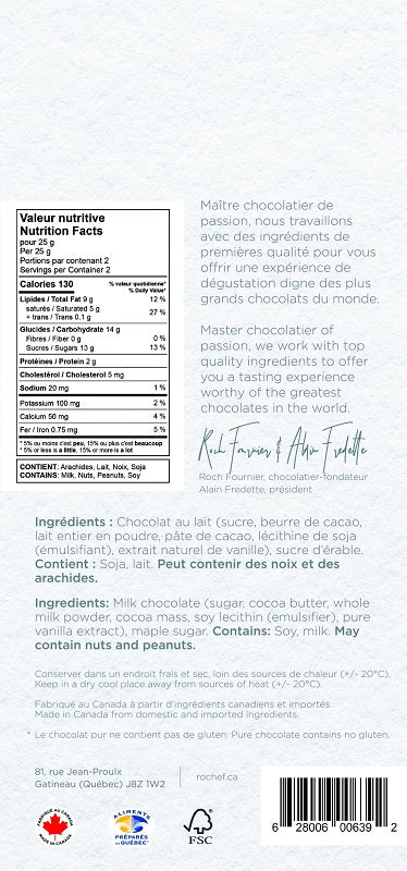 Sucre d'érable Tablette gourmande en chocolat au lait 50g