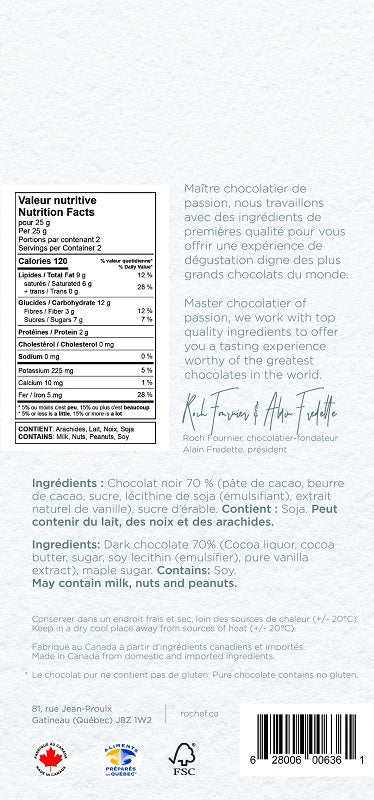 Sucre d'érable Tablette gourmande au chocolat noir 50g