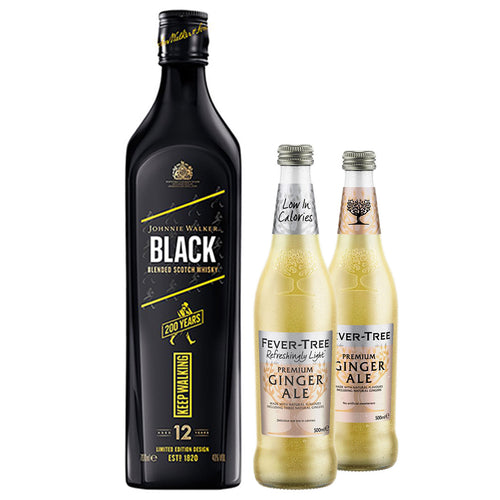Johnnie Walker Black Label 70cl (Plus Free Fever Tree Ginger Ale 2 x 500ml)