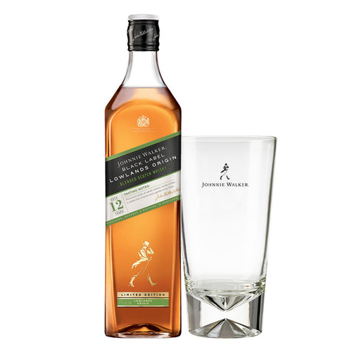 Johnnie Walker Black Label Blended Scotch Whisky Lowlands Origin Limited Edition, 1L (Plus Free Highball Glass)