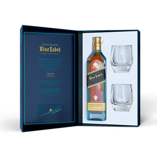 Johnnie Walker Blue Label Blended Scotch Whisky Gift Pack with 2 glasses, 70cl