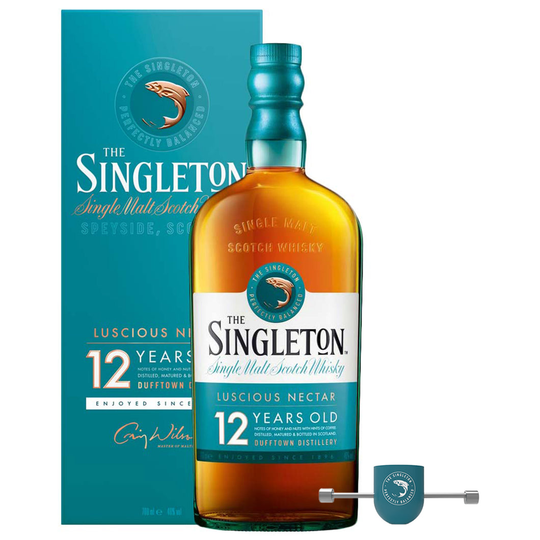 The Singleton of Dufftown 12 Year Old Single Malt Scotch Whisky, 70cl (Plus Free Pour & Roll Jigger)