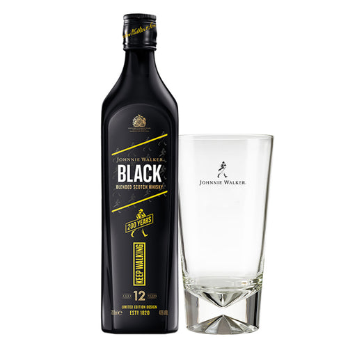 Johnnie Walker Black Label Blended Scotch Whisky Limited Edition Design, 70cl (Plus Free Highball Glass)