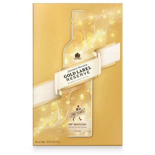 Johnnie Walker Gold Label Reserve Blended Scotch Whisky Gift pack with 2 Glasses, 70cl