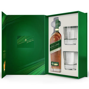 Johnnie Walker Green Label Blended Scotch Whisky, Gift Pack with 2 Glasses, 70cl