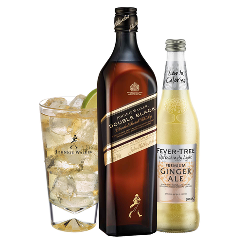 Johnnie & Ginger Highball Kit: Johnnie Walker Double Black Label 70cl, Highball Glass and Fever Tree Light Ginger Ale 500ml