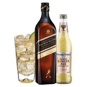 Johnnie & Ginger Highball Kit: Johnnie Walker Double Black Label 70cl, Highball Glass and Fever Tree Ginger Ale 500ml