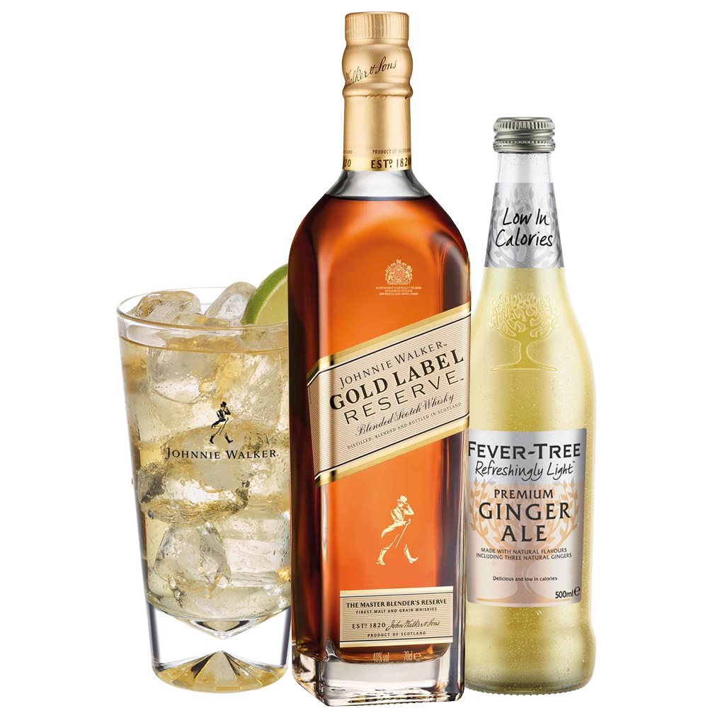 Johnnie & Ginger Highball Kit: Johnnie Walker Gold Label Reserve 70cl, Highball Glass and Fever Tree Light Ginger Ale 500ml