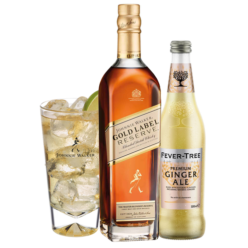 Johnnie & Ginger Highball Kit: Johnnie Walker Gold Label Reserve 70cl, Highball Glass and Fever Tree Ginger Ale 500ml