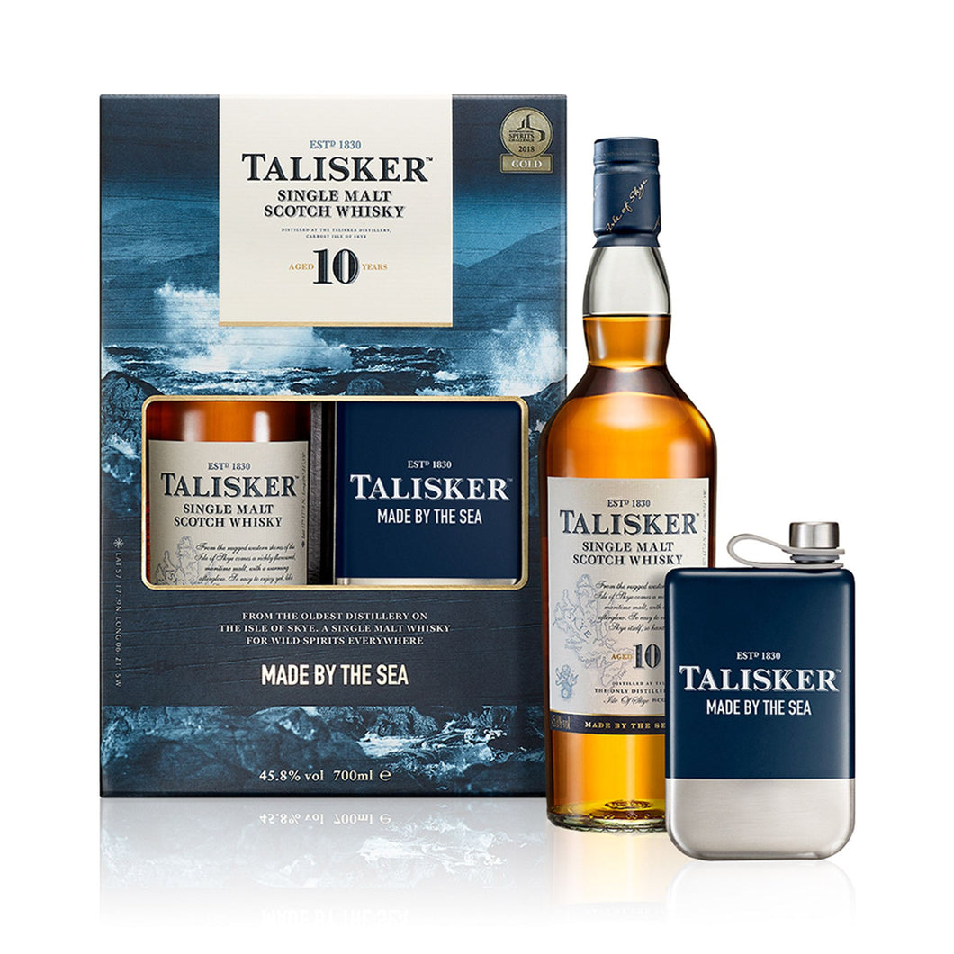 Talisker 10 Year Old Single Malt Scotch Whisky Gift Pack with Hipflask, 70cl