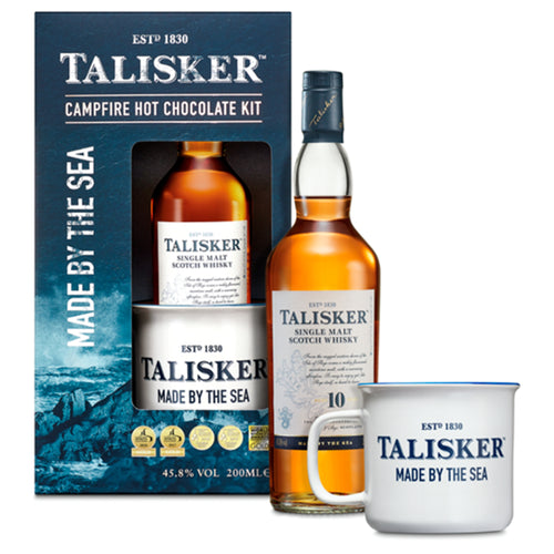 Talisker Hot Chocolate Giftpack with Talisker 10 Year Old 20cl, Enamel Mug and Hot Chocolate Powder
