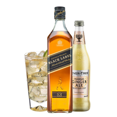 Johnnie & Ginger Highball Kit: Johnnie Walker Black Label 70cl, Highball Glass and Fever Tree Ginger Ale 500ml