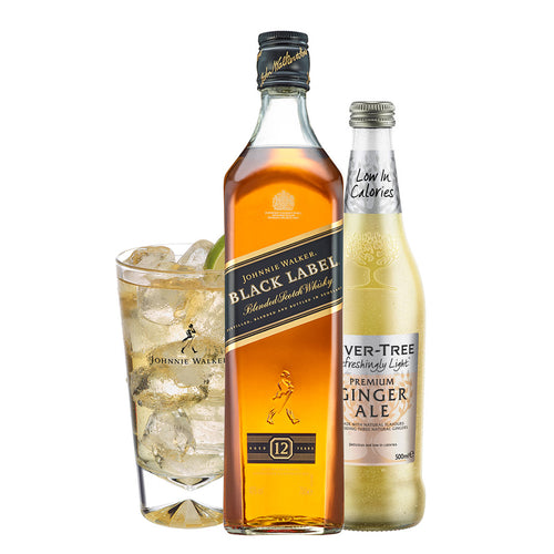 Johnnie & Ginger Highball Kit: Johnnie Walker Black Label 70cl, Highball Glass and Fever Tree Light Ginger Ale 500ml