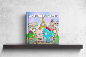 Children's board book featuring Hamilton the adorable pink pig and Eleanor the fluffy blue bunny on their recent trip travel to Paris France