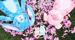 Adorable cutest stuffed animal plush toys around, perfect for all ages! Hamilton the fluffy soft pink pig and Eleanor the squishy blue bunny rabbit are the best friends who eat, sleep, and travel together!