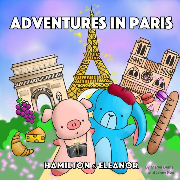 Hamilton the cute piggy and Eleanor the fluffy bunny rabbit explore the beautiful city of Paris, find out what they do, see, hear, and eat in their first ever children's board book!
