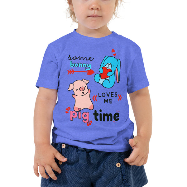 Some Bunny Loves Me Pig Time Pig Bunny Funny Toddler Shirt Heather Columbia Blue Girl Clothing