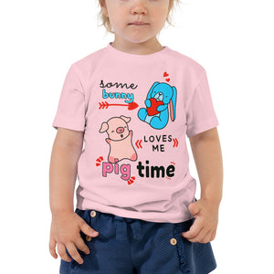 Some Bunny Loves Me Pig Time Pig Bunny Funny Toddler Shirt Pink Girl Clothing