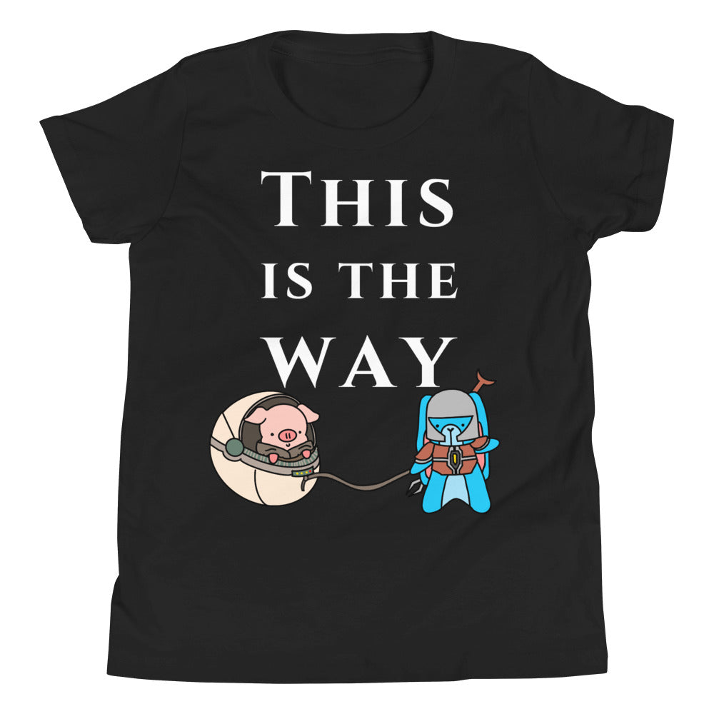 Mandalorian This is the Way parody t shirt featuring pig and bunny cute funny shirt design youth black bella canvas tee