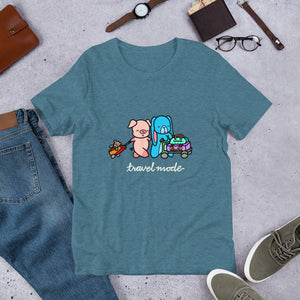 Pig and Bunny Adventure T-Shirt, Travel Mode, Adventure Begins ∙ Travel T-shirt, Vacation Shirt, Travelling, Happy Camper, Softstyle Unisex Tee Heather Deep Teal