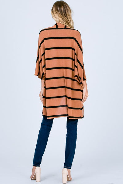 Camel and Black Striped Cardigan