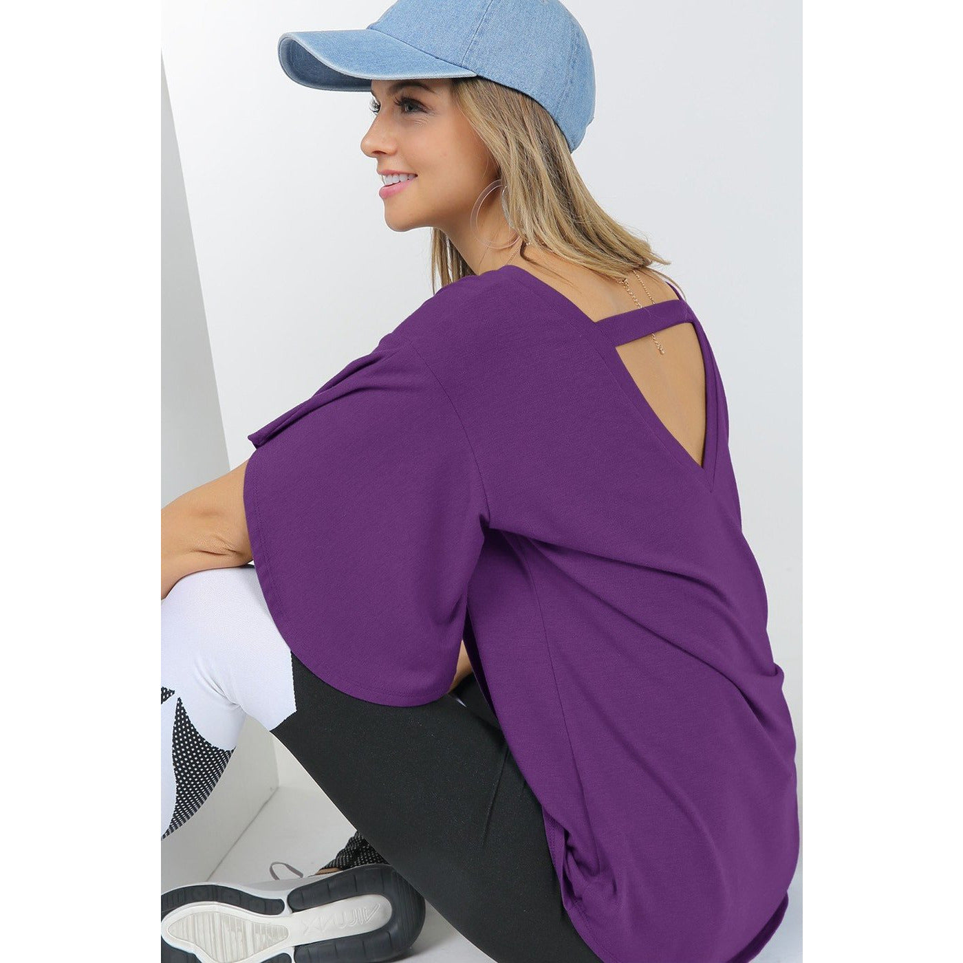 V-Neck Banded Back Tunic in Eggplant