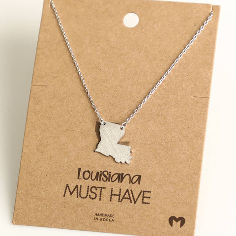 Louisiana State Necklace in Silver