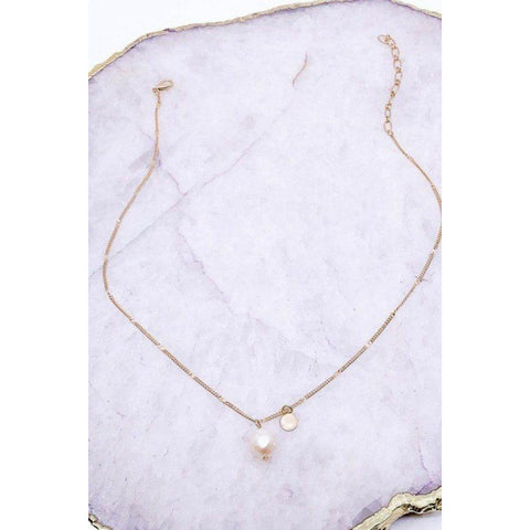 Fresh Water Pearl Necklace on a Pressed Chain