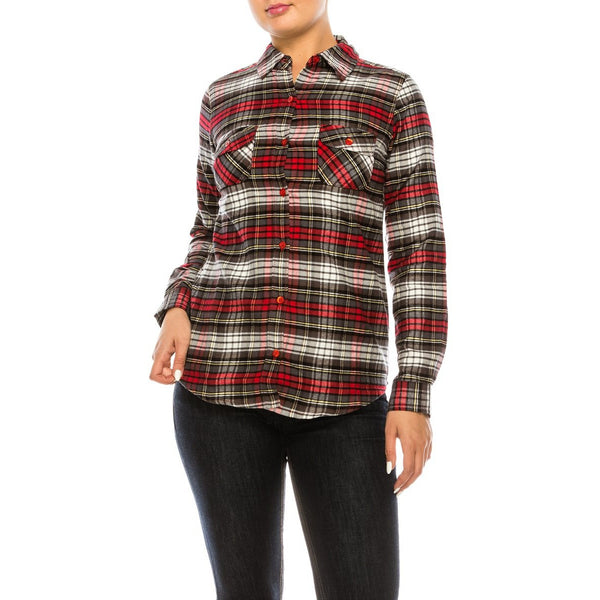 Fall in Love Flannel in Red, Black, and White