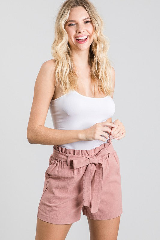 Cotton Paper Bag Shorts in Dusty Rose