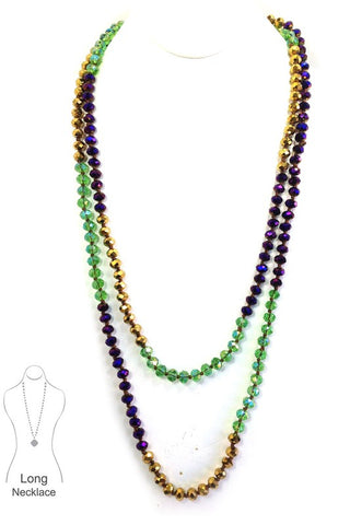 "Mardi Gras Rondell 60"" Long Crystal Necklace"