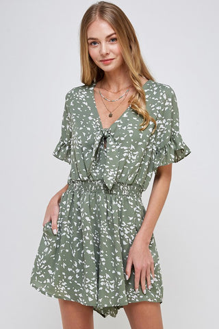 Living Out Loud Romper in Olive