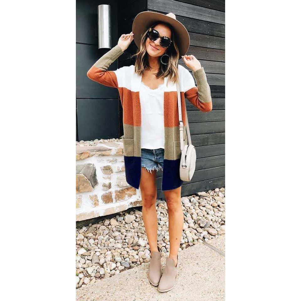 Endless Autumn Color Block Cardigan